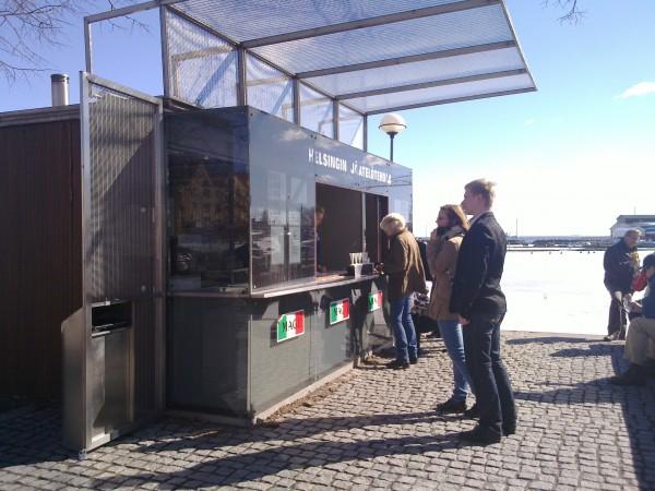 Bildbevis på att glasskiosker är öppna i Helsingfors