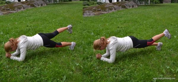 plankan med benlyft träna mage och rumpa