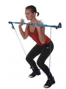 Knäböj + axelpress uppåt med gymstick