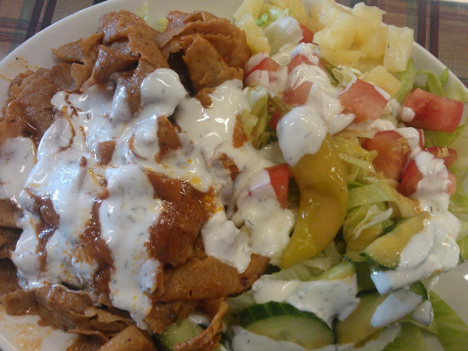 Kebab med sallad