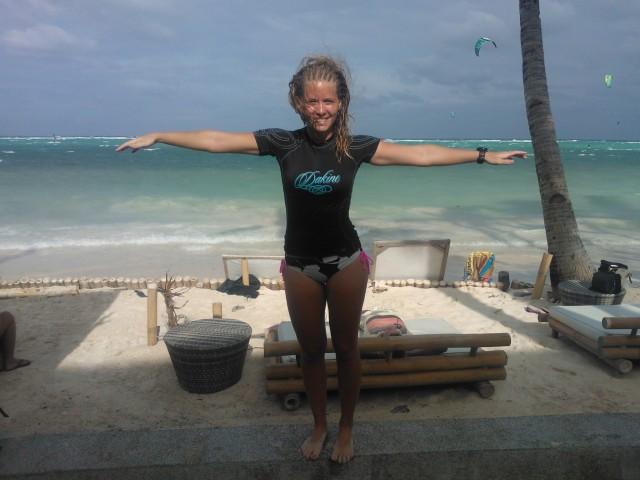 På stranden igår i den starka vinden
