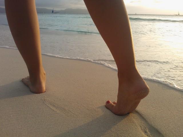 barfotalöpning på stranden