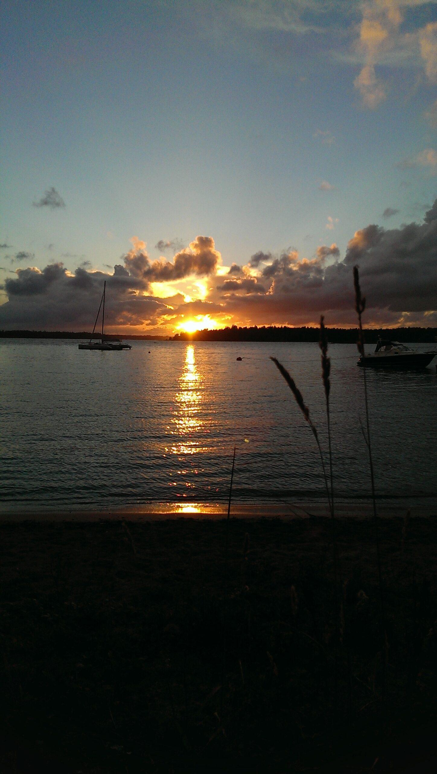 Länk i en blåsig solnedgång