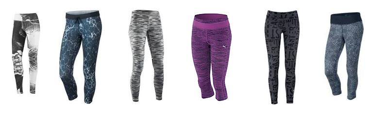 Snygga mönstrade träningstights och -shorts