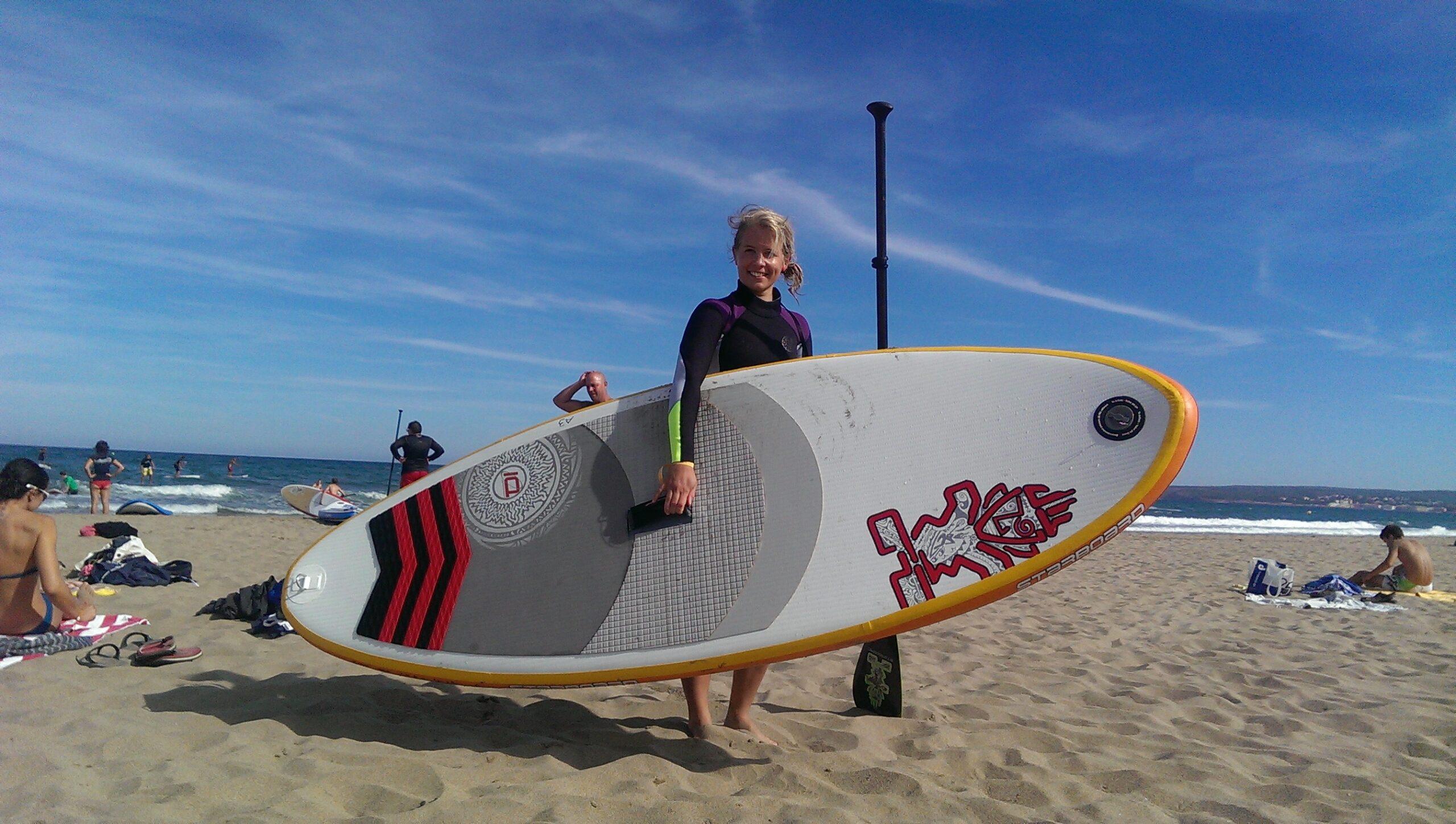 En rolig dag med våg-SUP och kite