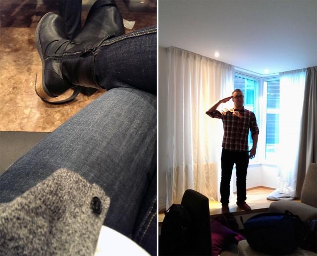 Jag fick skoskav så jag köpte nya, bekväma skor / Enda bilden av hotellrummet med Jonathan i fin pose.