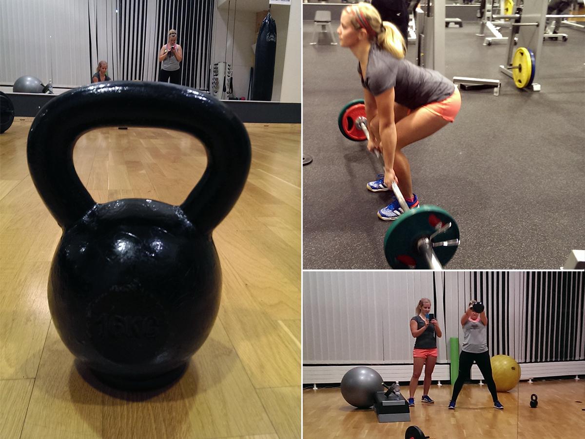 Träning på gamla gymmet