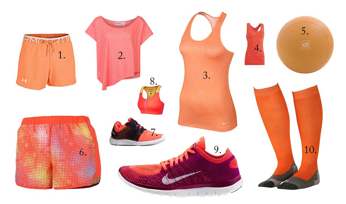 Snygga träningskläder i orange