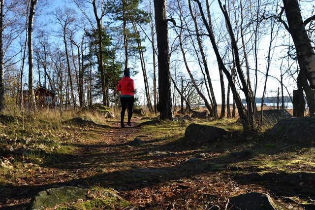 löpning i skogen