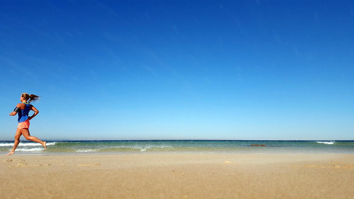 löpning stranden