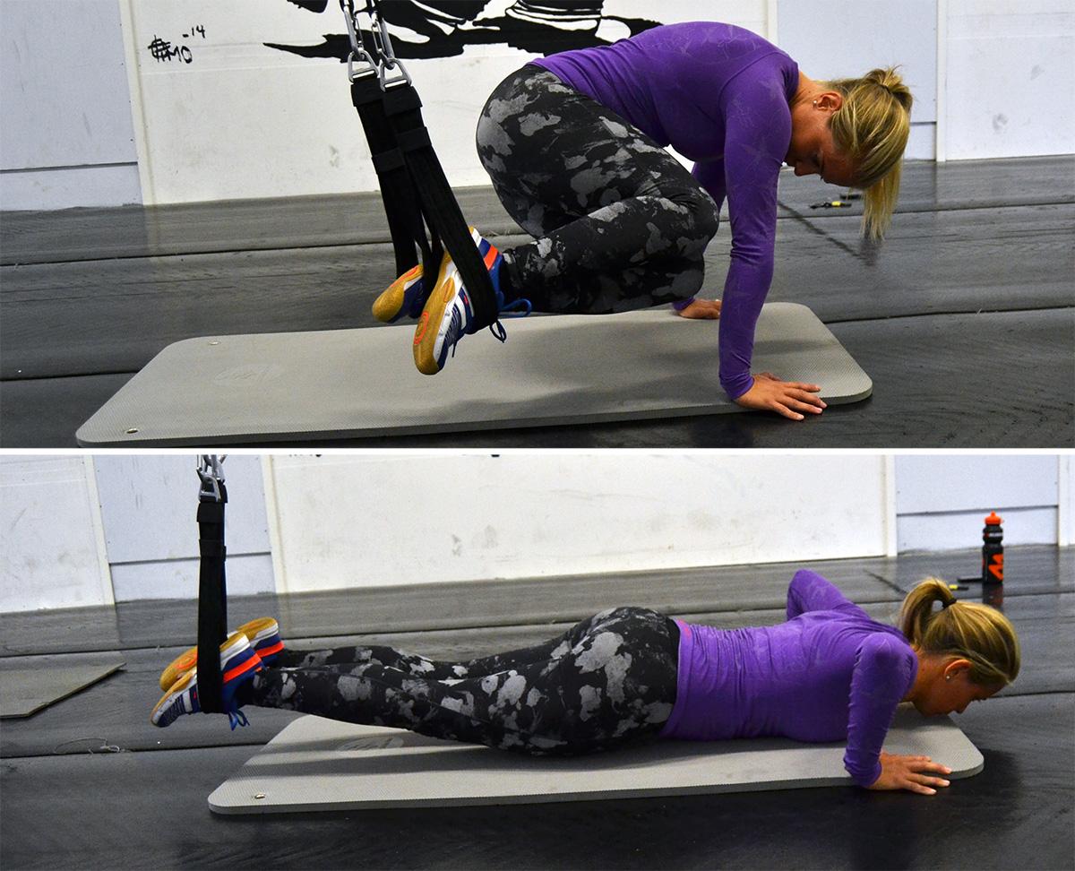 sneda plankdrag med armhävning