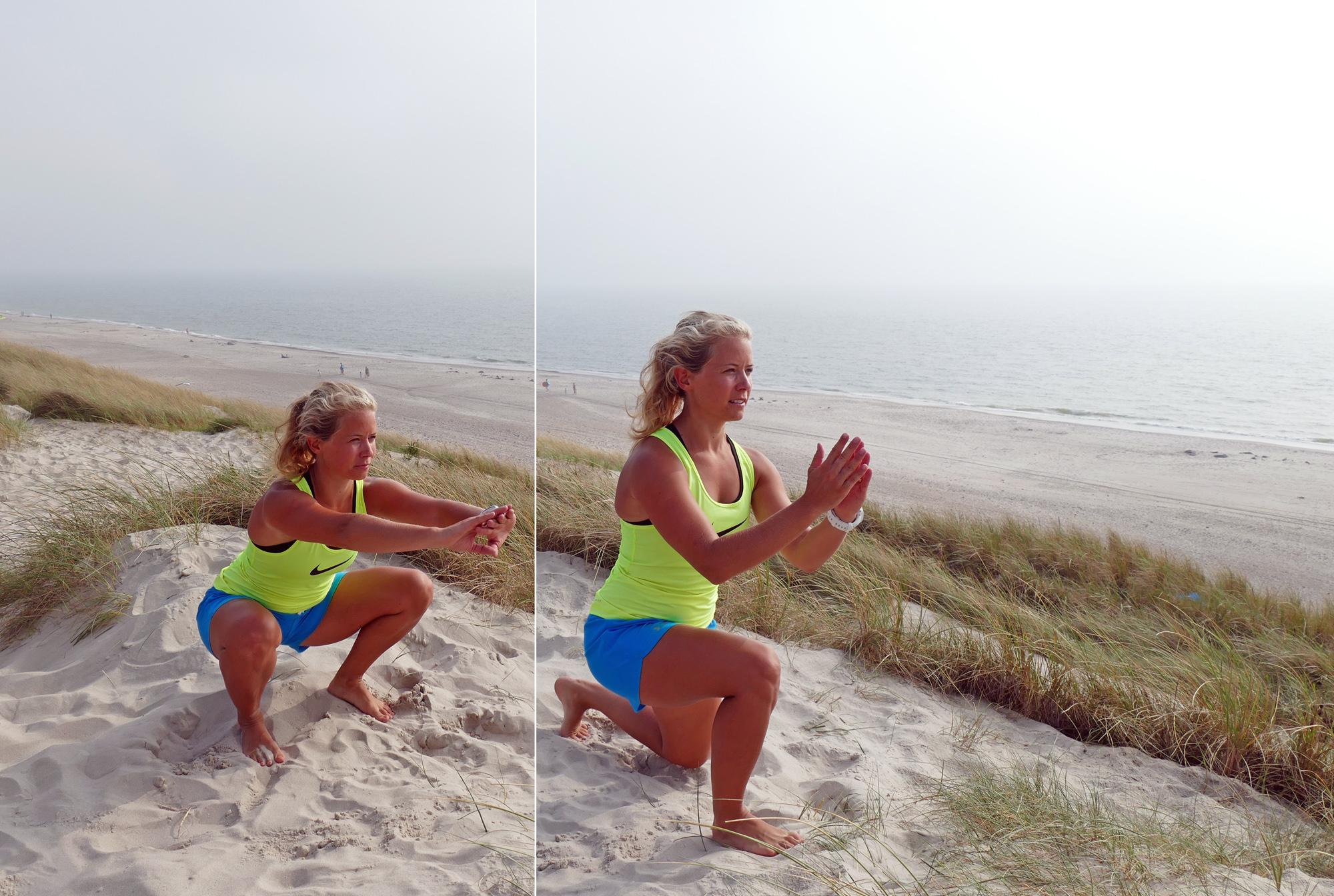 Vid hopparknä gör övningar som knäböj och utfall ont.