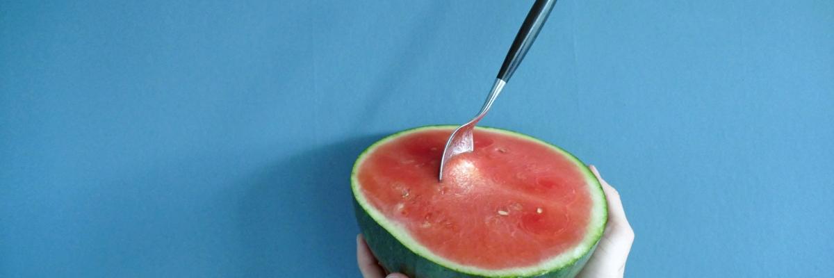En genialisk, halv vattenmelon
