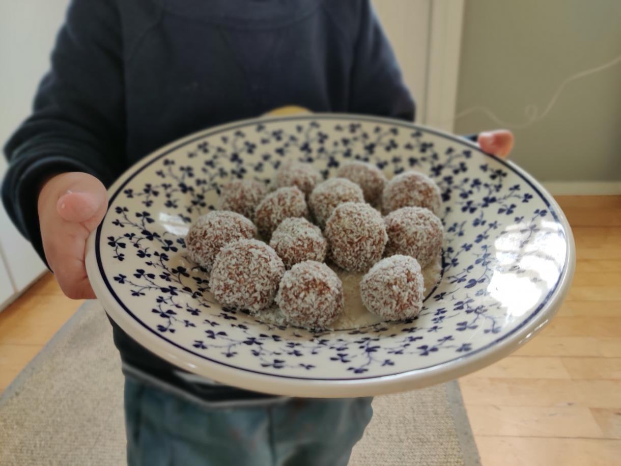 kokosbollar med honung