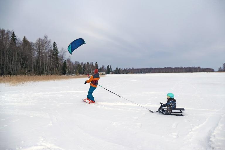 Kitesurfing tillsammans med barnen