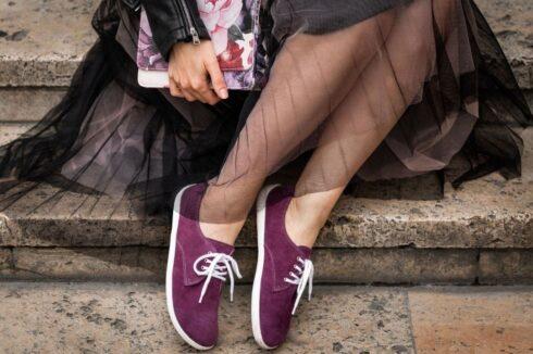 Barefoot Shoes - Be Lenka City - Plum & White - 1